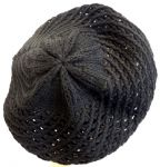 New Ladies Black 1940's WWll Vintage style Crochet Beret, Snood, Beanie,Slouch Hat (1)